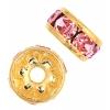 Rhinestone Rondelle (Flat Round) 6mm Gold/Light Rose